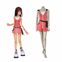 Hot Kingdom Hearts Kairi Girls Pink Dress Cosplay Costume Pink Red Set Pocket Bag Free Shipping