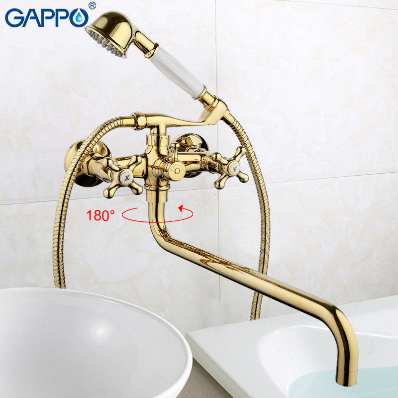 GAPPO Bathtub Faucet water mixer shower set golden wall waterfall bathroom faucet tap bath shower faucet in hand shower GA2263-6 infos bathroom led waterfall water tap