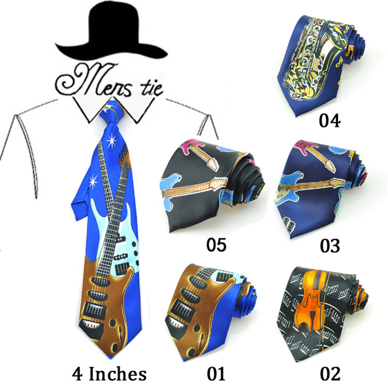 "New 4inch Wide 26 Fashion""Music Guitar/Violin/Sachs/Suona/Drums/Tuba""Design Mix Polyester Woven Classic Men`s Party Tie gift Tie"