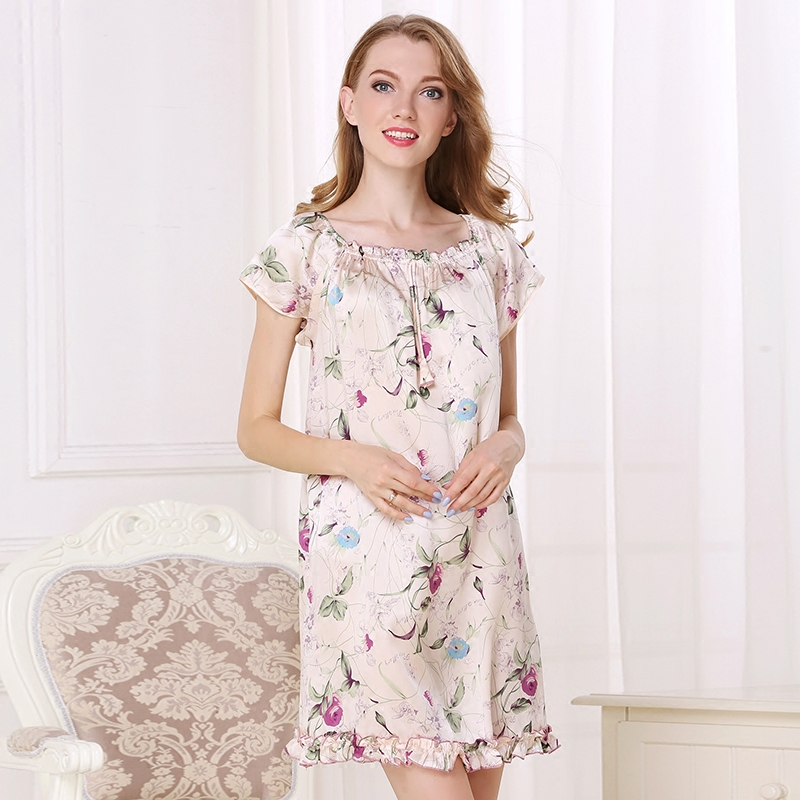 Silk Women Nightgowns Sexy Silk Printed Square Collar Pajamas Sleepwear Clothing