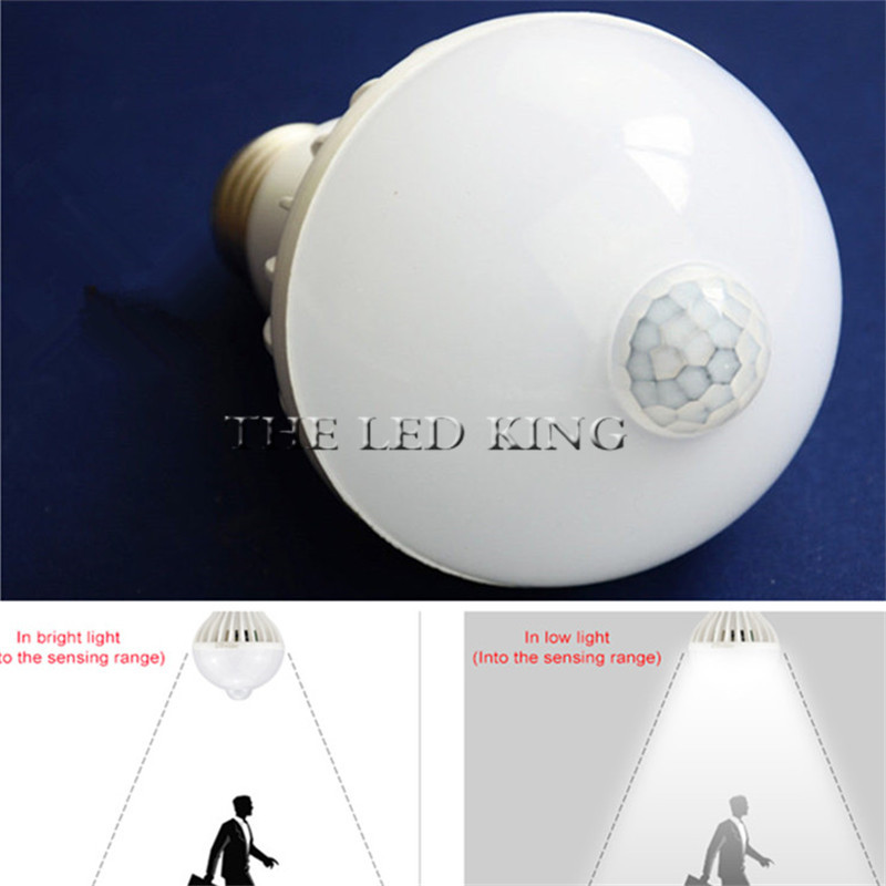E27 220V Sensor LED Lamp Bulb PIR Infrared Motion/Sound+Light Sensor Control Automatic Smart Body Detection Led SMD 5730