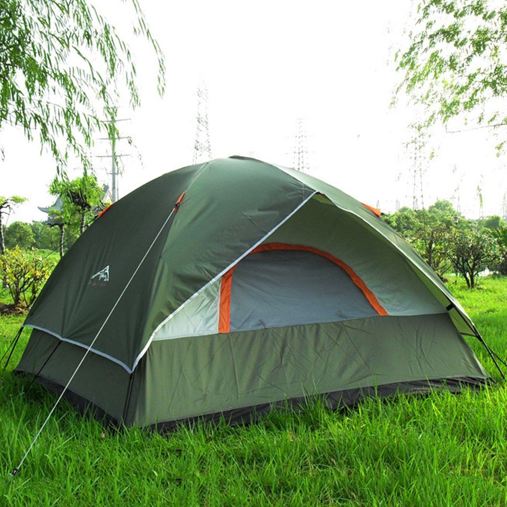 3 Person 200*200*130cm Double Layer Weather Resistant Outdoor Camping Tent for Fishing, Hunting Adventure Family Party picnic high quality outdoor 2 person camping tent double layer aluminum rod ultralight tent with snow skirt oneroad windsnow 2 plus