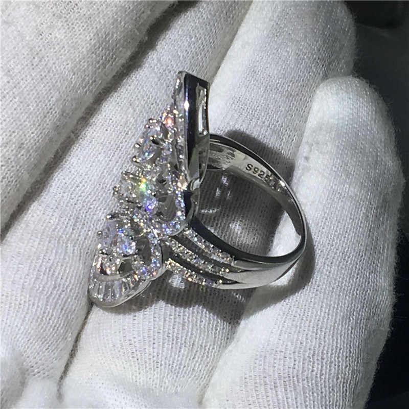 Choucong Big Court แหวน 5A Zircon sona CZ 925 เงินสเตอร์ลิงแหวนหมั้นแหวนผู้หญิงผู้ชาย Baroque เครื่องประดับ
