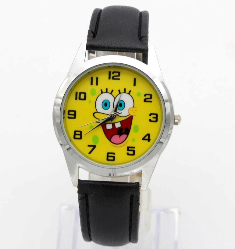 Spongebob dial boys and girls cute cartoon leather strap quartz watch child lovely Xmas gift dress clock Relogio kids watches hot sale star wars boys cartoon watch lovely girl children watches pu strap quartz wristwatch kids dress rectangular clock