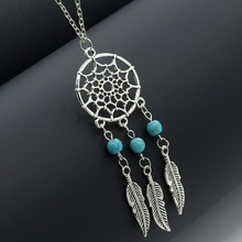 European and American retro jewelry  tassel feather pendant necklace Dreamcatcher with the same sweater chain Party accessories
