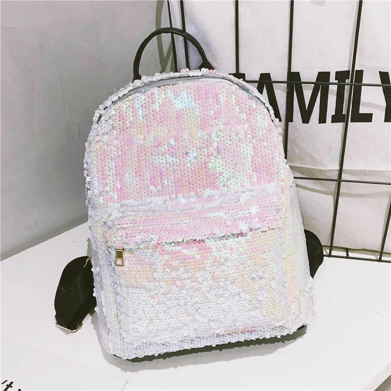 Модный Блестящий женский кожаный яркий рюкзак шикарный женский Mochila для девочек блестящие школьные сумки с пайетками сумка на плечо