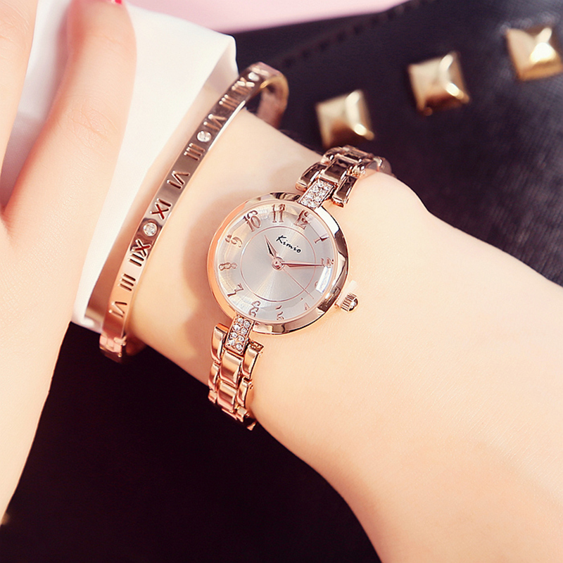 2016 Fashion Brand Kimio Luxury Quartz-watch Ladies Watch women Gold Rhinestone Bracelet  Waterproof  Watches with gift box