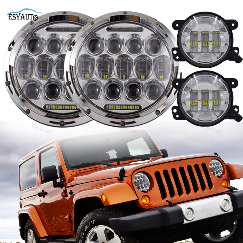 Combo 7 Inch Round LED DRL Headlight Assembly 75W Headlamps with 4 Passing Auxiliary Fog Lights for Jeep Wrangler JK Off Road куртка утепленная armani jeans armani jeans ar411ewtya62