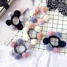 Korea Hair Accessories For Girls Color Matching Wool Ball Ties Rubber Band Gum for Elastic