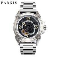 44 мм Parnis Мужские часы скелетоны Элитный бренд, механические часы Япония механик военный пилот Часы розовое золото черный серебристый