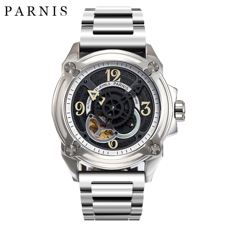 44mm Parnis Skeleton Men Watch Luxury Brand Mechanical Watches Japan Mechanic Military Pilot Watch Rose Gold Black Silver Mechanical Watches     - title=