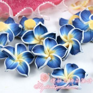 Sale!30pcs Dark Blue Color 3d Polymer Clay Beads Flower/plumeria Rubra Design For Diy Jewelry Making Rich In Poetic And Pictorial Splendor Beads