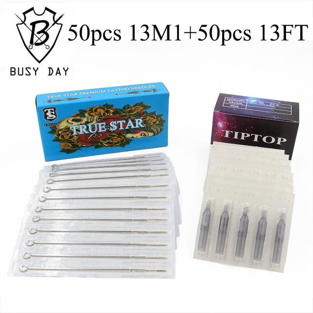 13M1+13FT) 50pcs True star tattoo needles & 50pcs TIP TOP tattoo ...