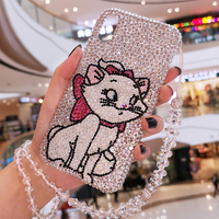 For iPhone XR Luxury Marie Cat Bling Crystal Diamond case for iphone XS Max X 6 6S 6SP 7 7P 8 8plus Lady czech stones case strap