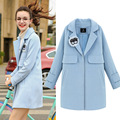 Europe in the autumn of 2016 new women's College wind color cocoon type cloth coat in casual woolen coat   v386