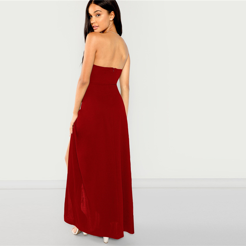 0d542ea67e SHEIN Burgundy Party Bandeau Off Shoulder Split Sleeveless Natural ...