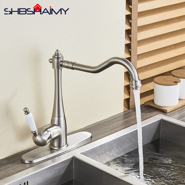 US $55.44 40% OFF|Nickle Brushed Deck Mounted Kitchen Sink Faucet Single  Handle Single Hole Kitchen Hot and Cold Water Mixer-in Kitchen Faucets from  ...