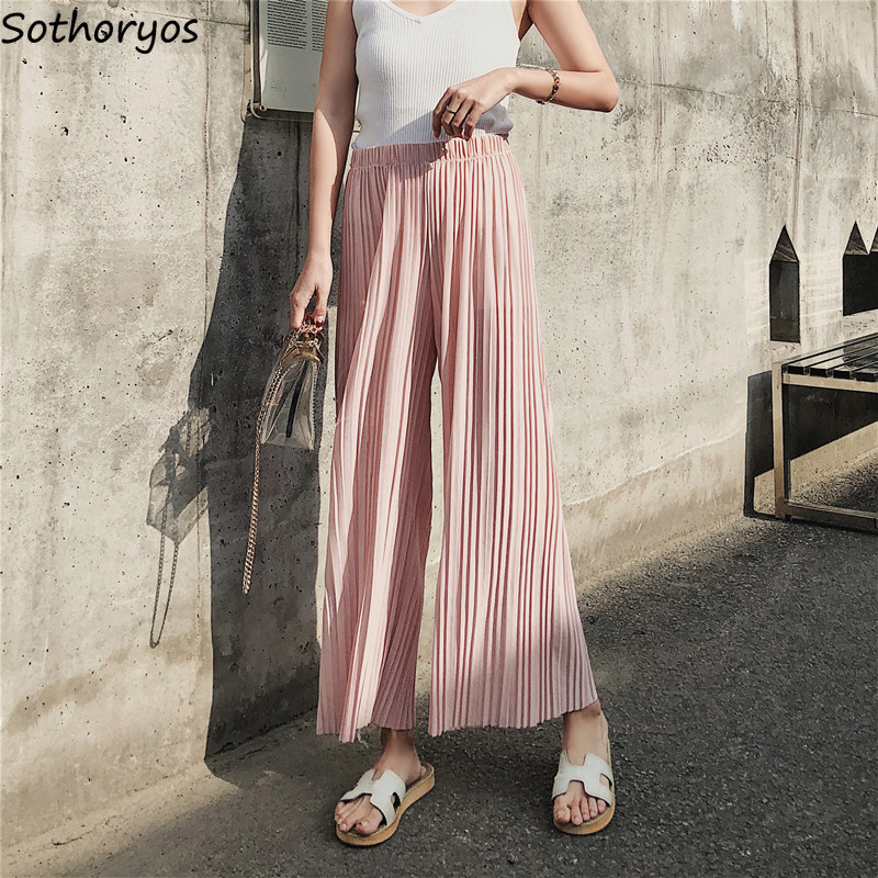 Pants Women Ankle-length Solid Simple All-match Soft High Waist Leisure Wide Leg Pant Womens Korean Style Breathable Trousers