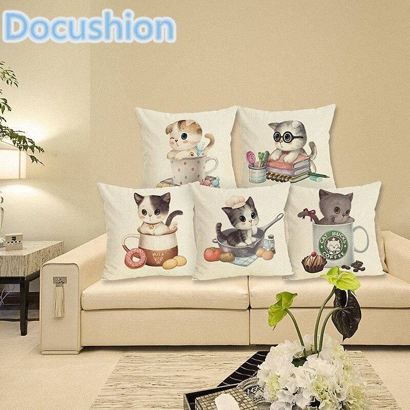 Fashion Adorable Cartoon Style Cat Printed Pillow Bed Sofa Cushion Home Decorative Throw Pillow Fundas Para Almofadas Cojines