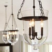 Vintage Pendant Lamps Retro American Country Loft Iron Pendant Light Glass Bucket Bar Warehouse E14 Fixture Lighting