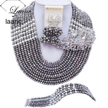 Laanc Latest 10 Rows Silver Plated Crystal Statement Necklace Wedding Jewelry Sets African Beads Nigerian Beads C22P026