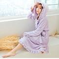 2015 Outono E Inverno Feminino Velo Coral 6 Cores Noite Vestido de Roupão de Banho Spa Senhora Pijamas de Manga Longa Com Babados Com Capuz Pijamas