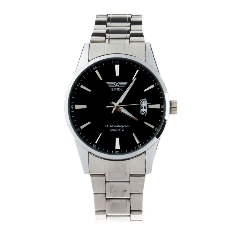 Mens Stainless Steel Band Date Quartz Calendar Analog Sport Wrist Watch relogio feminino erkek kol saati mens watches skmei saat julius quartz watch ladies bracelet watches relogio feminino erkek kol saati dress stainless steel alloy silver black blue pink