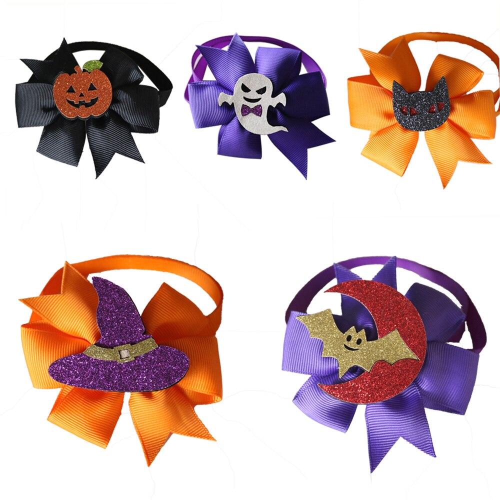 100 pièces Halloween Pet chat chiot Bowties cravates automne chien toilettage accessoires chien vacances noeud papillon