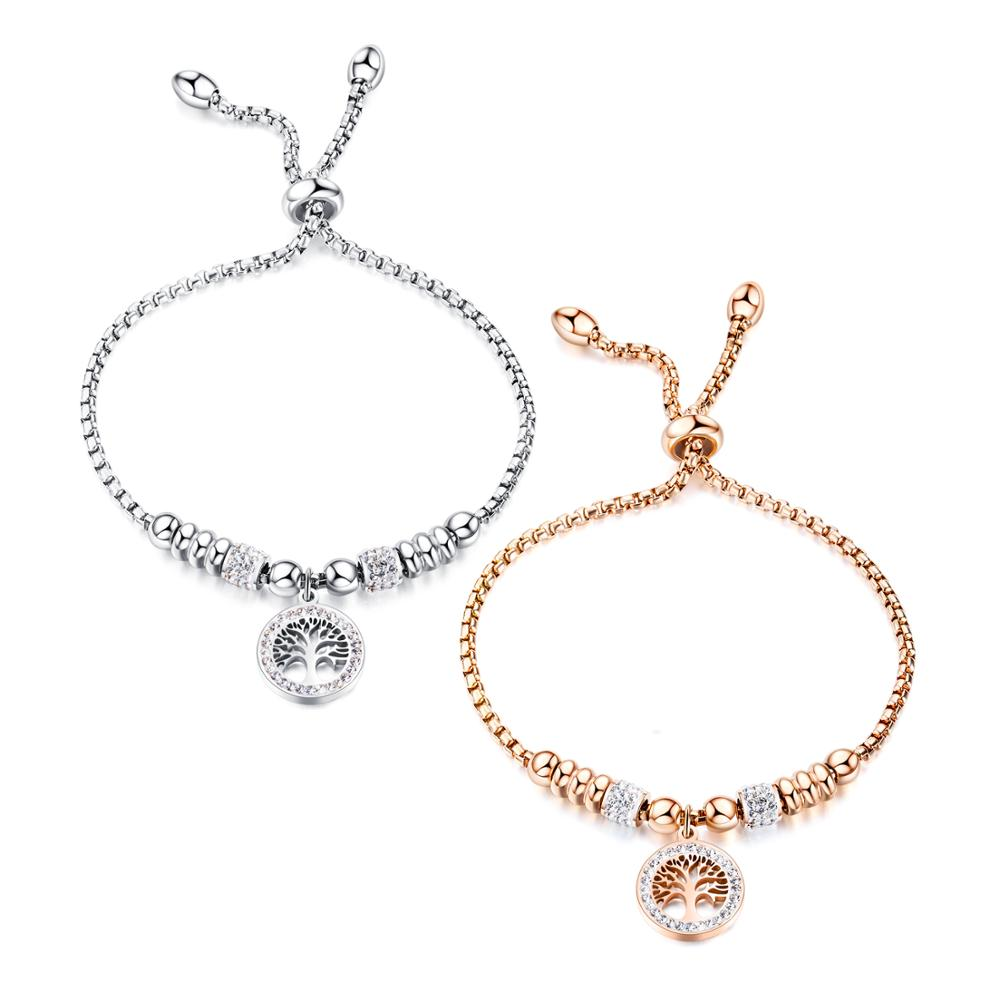 Fashion personality hollow life tree bracelet Creative ladies stainless steel rose gold adjustable bracelet 3-GS1021