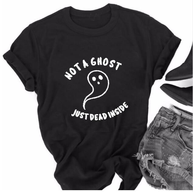 5a012f73721 US $9.4 |Summer Halloween Harajuku Tee NOT A GHOST JUST DEAD INSIDE Hipster  T Shirt Tumblr Graphic Vintage Black Cotton Tops Drop Ship-in T-Shirts ...