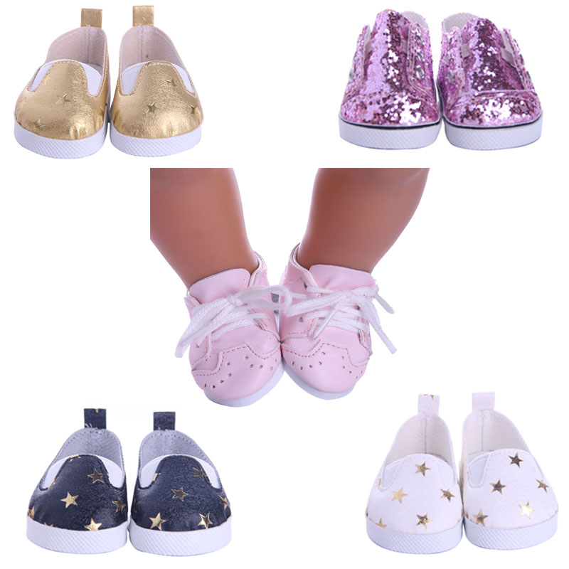 5Styles Star Pattern Leather Shoes Fit 18 Inch American&43 CM Baby Doll Clothes Accessories,Girl's Toys,Generation,Birthday Gift
