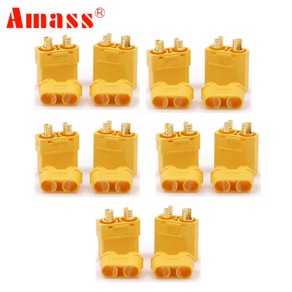 5Pair/lot Amass XT90+ Plug Connectors Male Female For RC Model Battery 5pair 4pin male