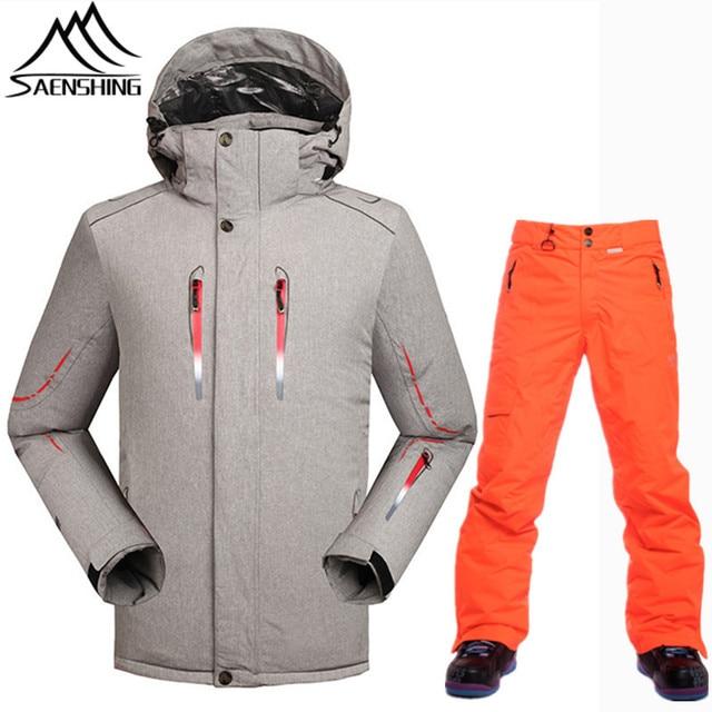 SAENSHING -30 Degree Warm Ski Suit Men Snowboarding Suits Waterproof 10K Ski  Jacket Snowboard Pants Skiing Outdoor Ski Clothing 3f904f270