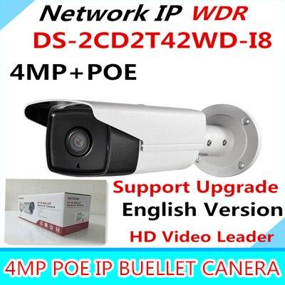Wholesale English Version IP Camera 4.0 megapixel V5.3.3 Multi Language Bullet Camera IP Camera POE DS-2CD2T42WD-I8 WDR Function wholesale new english version ip camera full hd 1080p multi language cctv camera poe ds 2cd2t42wd i3 wdr 30m ir ip camera onvif