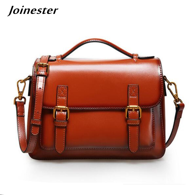 Messenger Bags Women Vintage Bag Ladies Genuine Leather Crossbody Bags Lady Handbag Top Handle Fashion Shoulder