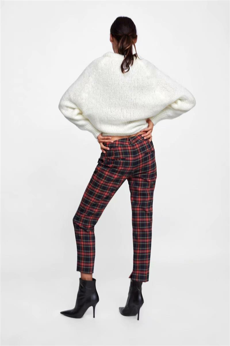 2018 Women Red Plaid Pants British Style Retro Vintage Checker Pattern Trousers 8