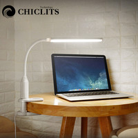 CHICLITS USB Clip Table Lamp 5W 24LED Eye Protect Desk Light Touch Sensor Control Reading Bedroom Bedside Lamp Stepless Dimmable