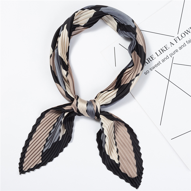Fashion Women Silk Small Crinkle Scarf Square Female Hair Scarfs Foulard Neck Scarves for Ladies Plaid Print in Women 39 s Scarves from Apparel Accessories