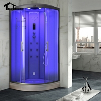 90cm White Hydro Steam Shower Room Cubicle Enclosure Bath Corner Massage Cabin Room Cabin Glass Walking