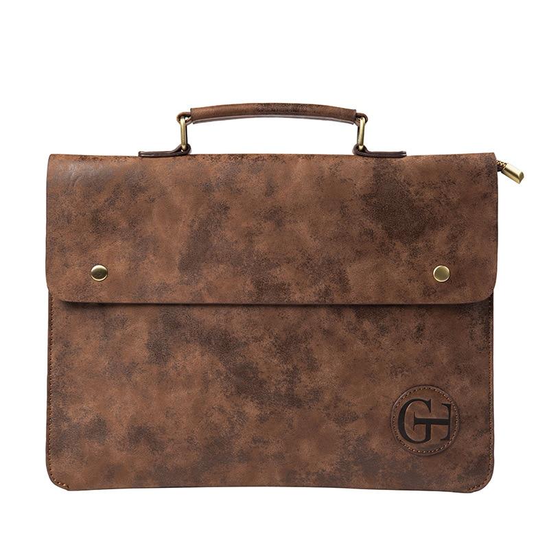 File Pocket Business Briefcase Men's Work Bag PU Leather Bag Men Office Camouflage Handbag Document Data Package A4 File Pocket