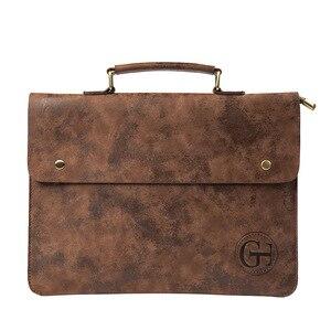 Image 1 - File Pocket Business Briefcase Mens Work Bag PU Leather Bag Men Office Camouflage Handbag Document Data Package A4 File Pocket