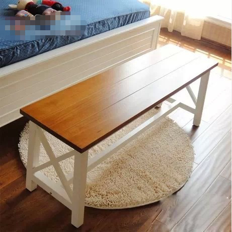 American country old pine wood bench stool changing his shoes double ...