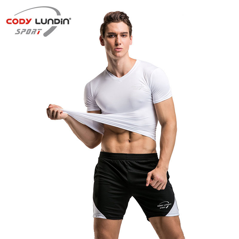 Коди Лундин Футболка короткий рукав v-образным вырезом плотно Гибкая верхняя быстрый сухой Для мужчин тренажерный зал упражнения