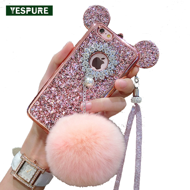 YESPURE Fancy Bling Gliter Case untuk IPhone 6 6s 7 8 plus Celular Fur Ball TPU Cover Case Girl Phone Accessory Shell Telefon bimbit