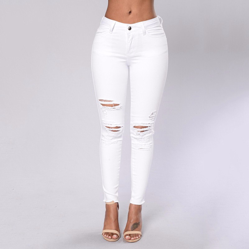 Sexy Big Holes Ripped Jeans Tassels Skinny High Waisted -8587