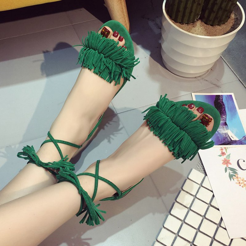 COOTELILI Shoes Woman Fashion Tassel Straps Flat Sandals For Women Flip-flops Women Summer Beach Shoes Black Green Red 40,41,42