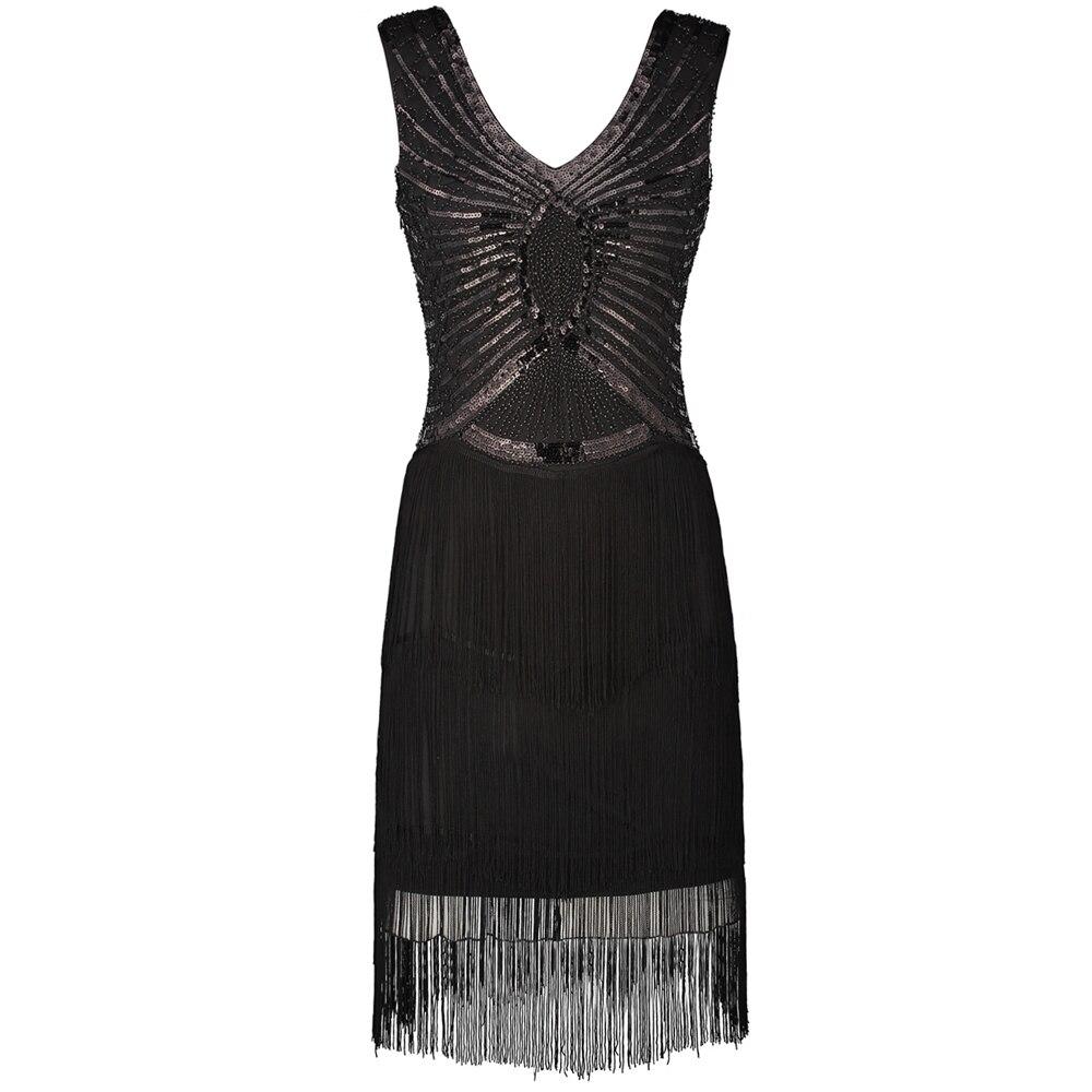 frauen kleine schwarze kleid v-ausschnitt v zurück Ärmel 1920s stil  inspiriert charleston pailletten schicht quaste great gatsby flapper kleid