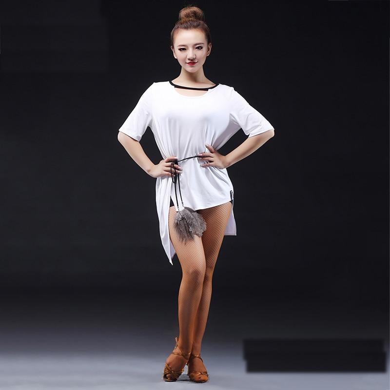 Sexy Latin Dance Tops For Lady Black White Modal Wear Women Ballroom Shirt Tango Samba Competitive Professional Clothes I186