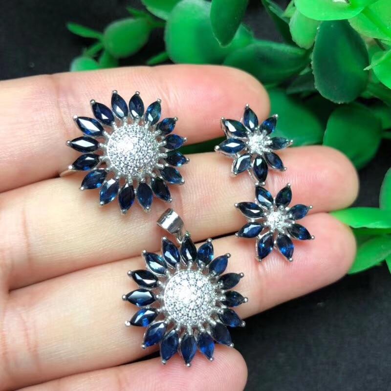 Natural sapphire suit sun flower style luxurious and beautiful flower style beautiful design 925 silve