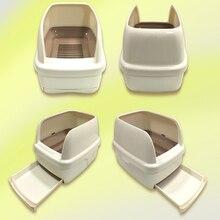 Enclosed Closed Large Cat Litter Box Toilet Trays Plastic Cat Box Toilet Sand Litter BedPan Pets Basin WC Nip Trays Dog QQM2379